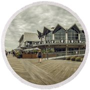 Asbury Park Boardwalk Looking South Round Beach Towel