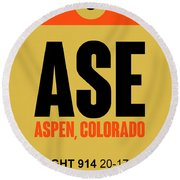 Ase Aspen Luggage Tag I Round Beach Towel