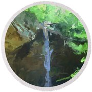 Ash Cave Ohio Abstract Round Beach Towel