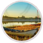 Boats In The Marsh Grass, Ogunquit River Round Beach Towel