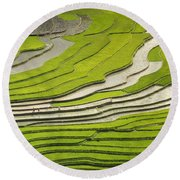 Asian Rice Field Round Beach Towel