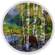 Aspen Bears #2 Round Beach Towel