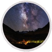Round Beach Towel featuring the photograph Aspen Nights by Tassanee Angiolillo