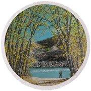 Aspen Trees And Fisherman Round Beach Towel
