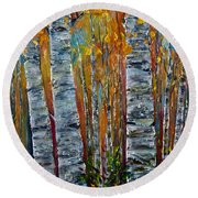 Round Beach Towel featuring the photograph Aspen Trees By Olena Art by OLena Art