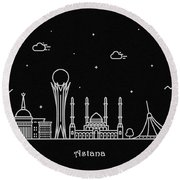 Astana Skyline Travel Poster Round Beach Towel