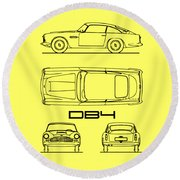 Aston Martin Db4 Blueprint Round Beach Towel