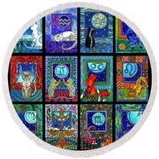 Astrology Cat Zodiacs Round Beach Towel