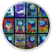 Astrology Cat Zodiacs Round Beach Towel