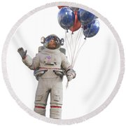 Astronaut With Happy Balloons  Round Beach Towel