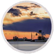 Round Beach Towel featuring the photograph At Anchor At Lookout Point by Rick Berk