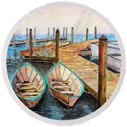 At The Dock In Gloucester Massachusetts Round Beach Towel