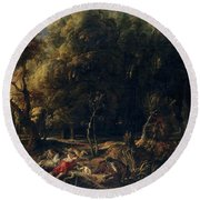 'atalanta And Meleager Hunting The Wild Boar Of Calydon', 1635-1636, Flemish... Round Beach Towel