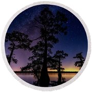 Atchafalaya Basin Under The Miky Way Round Beach Towel