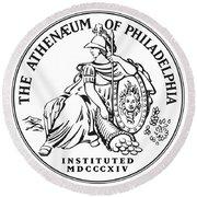 Athenaeum Of Philadelphia Logo Round Beach Towel