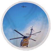 Round Beach Towel featuring the photograph Attacking The Fire From All Sides by Lynn Bauer