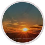 Attean Pond Sunset Round Beach Towel