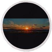 Attean Pond Sunset Round Beach Towel