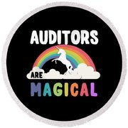 Auditors Are Magical Round Beach Towel