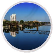Augusta Ga Savannah River Panorama Round Beach Towel