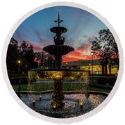 Augusta University Fountain Sunset Ga Round Beach Towel