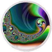 Aurora Borealis Over Snow Fractal Abstract Round Beach Towel