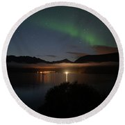 Aurora Northern Polar Light In Night Sky Over Northern Norway Round Beach Towel