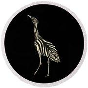 Australian Bustard Zebra 1 Round Beach Towel
