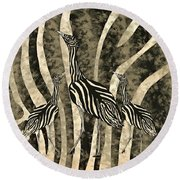 Australian Bustard Zebra 4 Round Beach Towel