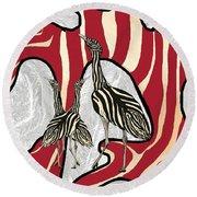 Australian Bustard Zebra 5 Round Beach Towel