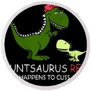 Autsaurus Rex Who Happens To Cuss A Lot Science Round Beach Towel