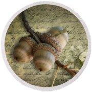 Round Beach Towel featuring the mixed media Autumn Acorns On Vintage Postcard Digital Art by Debi Dalio
