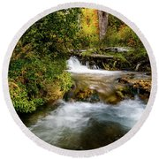 Round Beach Towel featuring the photograph Autumn Along The Provo Deer Creek by TL Mair