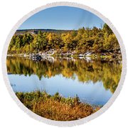 Round Beach Towel featuring the photograph Autumn At Ivie Pond Panoramic by TL Mair