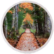 Autumn At Jesup Path Round Beach Towel
