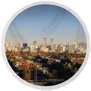 Autumn At The City Round Beach Towel