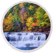 Round Beach Towel featuring the photograph Autumn Beauty At Lower Taughannock Falls  by Lynn Bauer