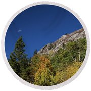 Round Beach Towel featuring the photograph Autumn Bella Luna by James BO Insogna
