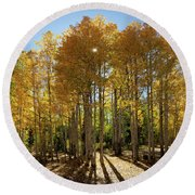 Round Beach Towel featuring the digital art Autumn Blaze Outside Of Crested Butte, Colorado.  by OLena Art Brand
