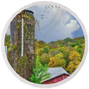 Round Beach Towel featuring the photograph Autumn Bliss On The Farm - Finger Lakes, New York by Lynn Bauer