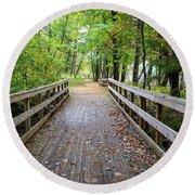Autumn Bridge Round Beach Towel