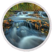 Round Beach Towel featuring the photograph Autumn Cascade In Vaughan Woods by Rick Berk