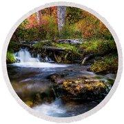 Round Beach Towel featuring the photograph Autumn Cascades by TL Mair