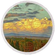 Autumn Clouds Over Maine Round Beach Towel