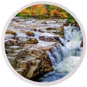 Autumn Color At Rocky Gorge Round Beach Towel