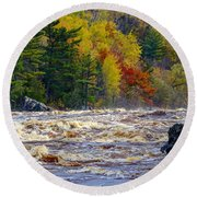Autumn Colors And Rushing Rapids   Round Beach Towel