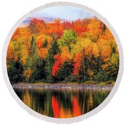Round Beach Towel featuring the photograph Autumn Colors Reflection by Dan Sproul