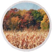 Autumn Cornfield Round Beach Towel