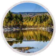 Round Beach Towel featuring the photograph Autumn Cove At Ivie Pond by TL Mair