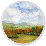 Autumn Day Watercolor Vermont Landscape Round Beach Towel
